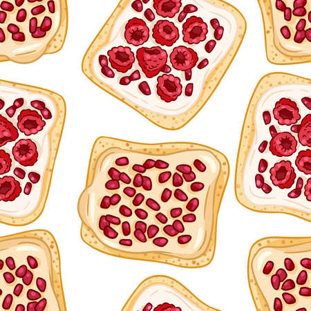 Toast bread sandwiches comic style seamless border pattern. Sandwiches with raspberries and garnet seeds with white spread wallpaper. Breakfast food background texture tile