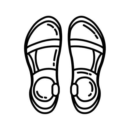 Pair of trekking sandals flat line icon. Camping or hiking element vector isolated image on white background. Glyph pictogram for web, mobile, infographics