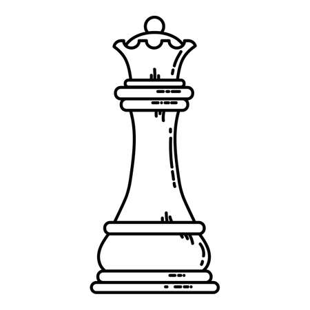 Chess flat queen icon. Stock vector image of a chess queen isolated outlined piece.