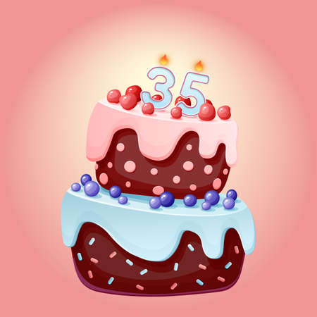 Thirty five years birthday cake with candles number 35. Cute cartoon festive vector image. Chocolate biscuit with berries, cherries and blueberries. Happy Birthday illustration