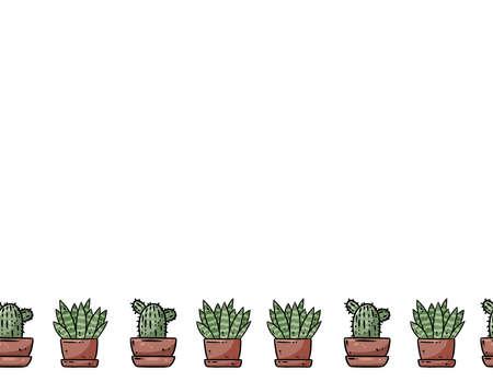 Succulents cartoon doodles seamless border pattern. Potted plants ornament. Cozy boho craft postcard or banner mock up. Letter format decoration background tile. Space for text