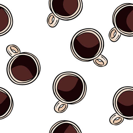 Coffee cups top view doodles seamless border pattern. Hand drawn cartoon mugs repeatable background tile. Comic style template of stock illustration for wrapping design, wallpaper
