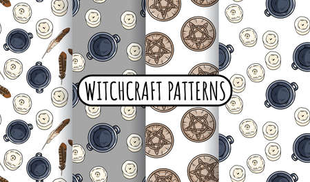 Set of magical witchcraft seamless border patterns. Comic style doodles of cauldrons, candles, quartz crystals hand drawn texture background tiles collection