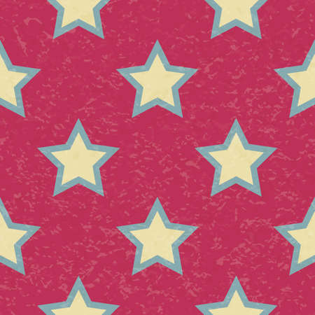 Circus carnival retro vintage stars seamless pattern. Textured old fashioned retro graphic template. Vector background tile. For parties, birthdays, decorative elements Иллюстрация