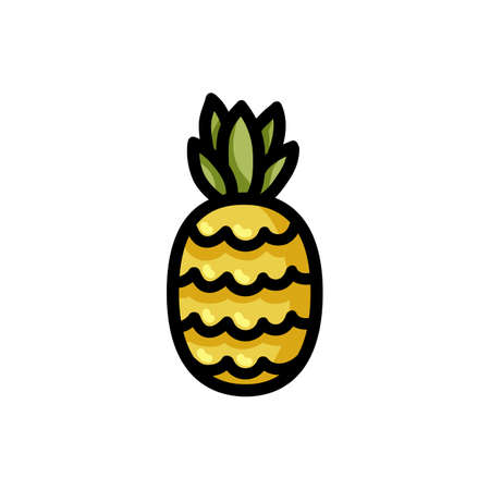 Pineapple flat outlined icon. Vector fruit isolated on white background. Vegetarian food symbol, media glyph for web