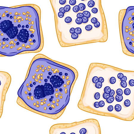 Toast bread sandwiches comic style seamless border pattern. Sandwiches with berries blueberries and blackberries with white spread wallpaper. Breakfast food background texture tile Иллюстрация