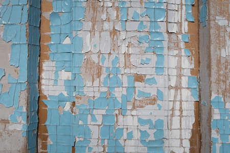 Old weathered blue and white grunge rustic wood panels. Wooden aged textures planks stock photo