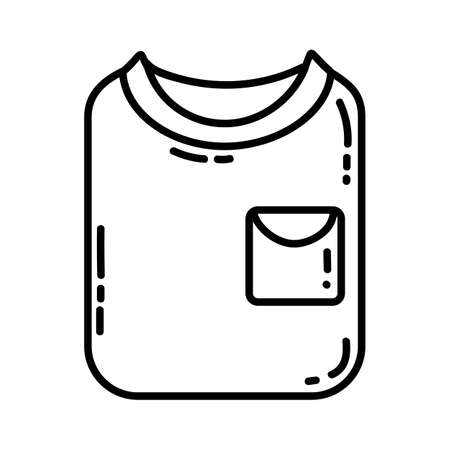 Folded t-shirt flat line icon. Casual shirt clothing piece element vector stock isolated image on white background. Glyph pictogram for web, mobile and infographics Иллюстрация