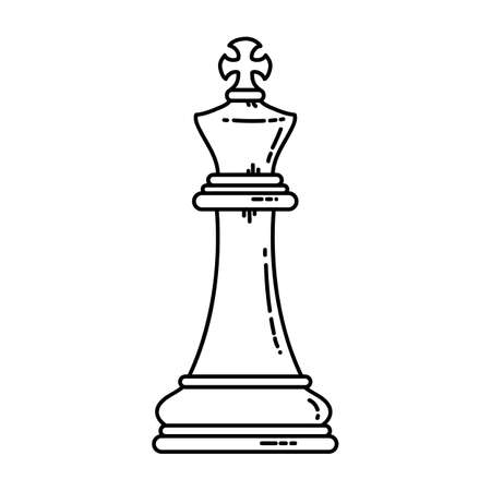Chess flat king icon. Stock vector image of a royal chess king isolated outlined piece. Иллюстрация