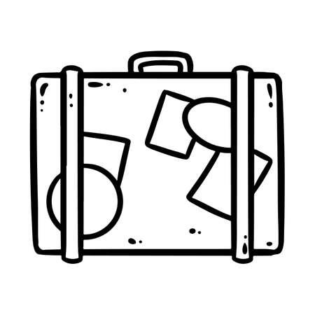 Suitcase comic style cartoon doodle image.