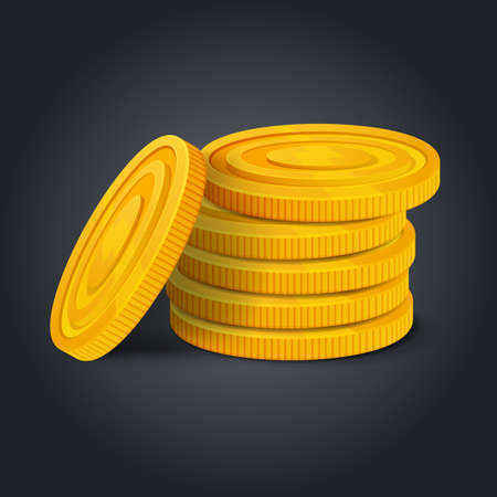 Golden coins stack on black background. Colorful glossy pile of money money realistic game asset. Vector stock image