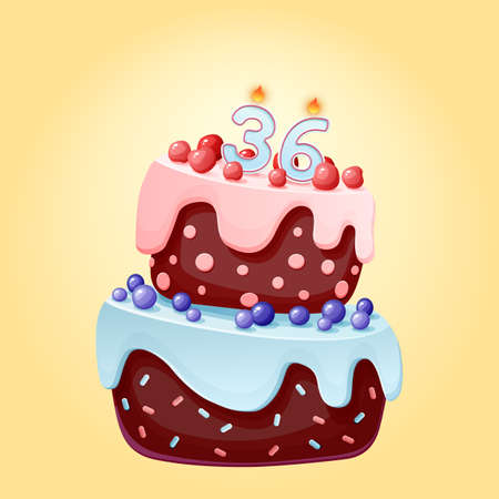 Thirty six years birthday cake with candles number 36. Cute cartoon festive vector image. Chocolate biscuit with berries, cherries and blueberries. Happy Birthday illustration Иллюстрация