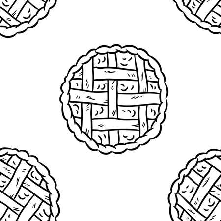 Tasty pie doodles seamless border pattern. Cute cartoon tasty pastry repeatable background tile. Cozy template of stock illustration for wrapping design, wallpaper Иллюстрация