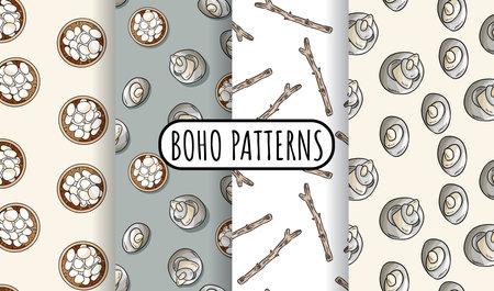 Set of bohemian seamless border patterns. Indigenous bohemian doodles background. Hand drawn hygge wallpaper. Cozy lagom template texture tile. Stock vector art