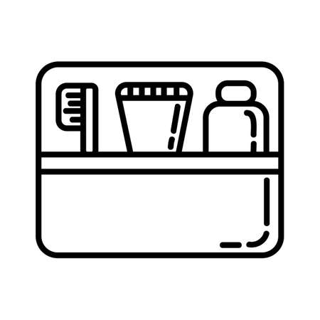 Cosmetic kit flat line icon. Morning hygiene portable elements vector stock isolated image on white background. Glyph pictogram for web, mobile and infographics Иллюстрация