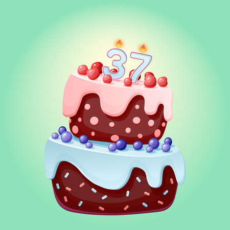 Thirty seven years birthday cake with candles number 37. Cute cartoon festive vector image. Chocolate biscuit with berries, cherries and blueberries. Happy Birthday illustration Иллюстрация