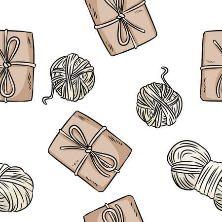 Cotton yarn and craft boxes comic style doodles top view seamless pattern. Hand drawn rustic repeatable wallpaper. Cozy boho template background tile Иллюстрация