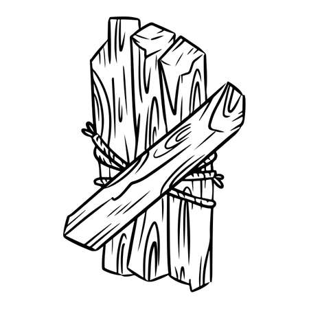 Palo Santo tied with thread. Holy wood tree aroma sticks from Latin America. Smudge burning incense bundle vector image Vetores