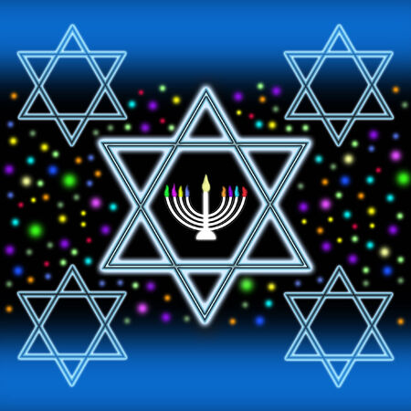 Stars of David und Menorah Standard-Bild
