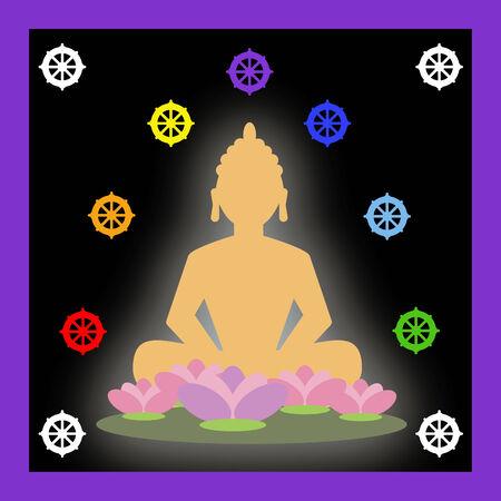 Buddha and buddhist symbols photo