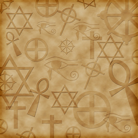 wheel of dharma: Background with ancient symbols