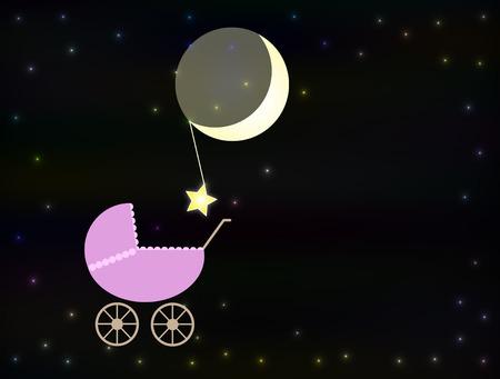lull: Pink baby pram at night Stock Photo