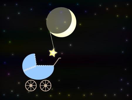 Blue baby pram at night photo
