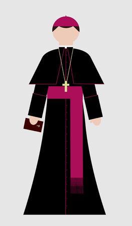 그의 손에 거룩한 성경과 가톨릭 주교