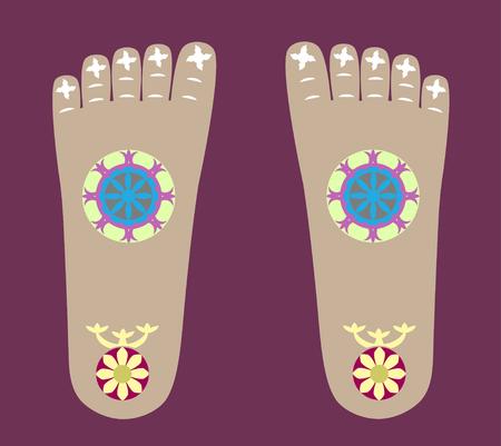 wheel of dharma: The Lord Buddha footprints