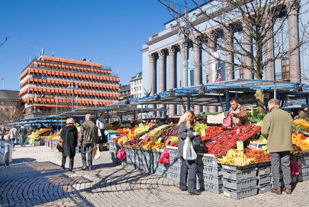marketed: STOCKHOLM, SWEDEN - APRIL 14, 2010:  Hay Square. Market next to the Royal Concert Hall in the center of the city