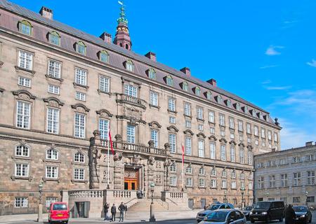 islet: COPENHAGEN, DENMARK - APRIL 13, 2010: Folketinget (The Danish Parliament) in Christiansborg Palace on the islet of Slotsholmen