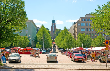LAHTI, FINLAND - JULY 17, 2010: Market Square in the center of Lahti. On the background is Town Hall, designed by Eliel Saarinen. Was built in 1912