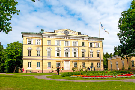 engel: EURAJOKI, FINLAND - JULY 6, 2013: Vuojoki Mansion. Vuojoki Mansion is one of the most beautiful empire mansions in Finland. Architect is Carl Ludwig Engel. Located in Eurajoki, province Satakunta Editorial