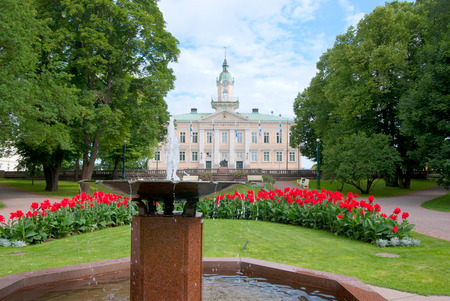 engel: Pori. Finland. Old Town Hall Building and Town Hall Park. Building designed by the architect C.L. Engel in 1831 Stock Photo