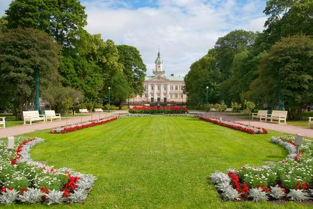 Pori. Finland. Oude Stadhuis Building en Town Hall Park. Gebouw ontworpen door de architect CL Engel in 1831