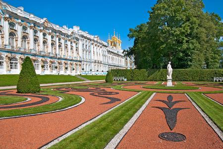 tsarskoye: TSARSKOYE SELO, SAINT-PETERSBURG, RUSSIA - JULY  30, 2013: Catherine Palace and Park with Allegory of Peace Statue. The Tsarskoye Selo is State Museum-Preserve. Located near Saint-Petersburg