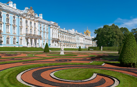 tsarskoye: TSARSKOYE SELO, SAINT-PETERSBURG, RUSSIA - JULY  30, 2013: Catherine Palace and Park with Allegory of  Magnificence and Peace Statue. The Tsarskoye Selo is State Museum-Preserve