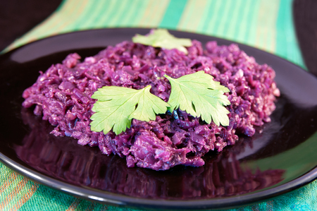 red braised: Red cabbage with onions and bacon braised in a red wine Stock Photo
