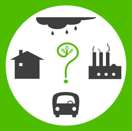 rains: Nature ask a question. Concept of the bad ecology with plants, automobiles, acid rains, human activity Stock Photo