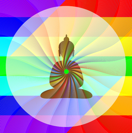 wheel of dharma: Buddha in meditation with rainbow waves from his heart