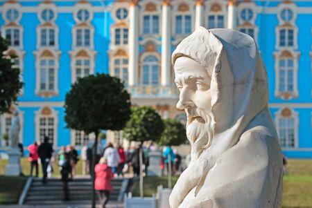 selo: TSARSKOYE SELO, SAINT-PETERSBURG, RUSSIA - SEPTEMBER 15, 2015: The Catherine Park Sculpture. On the background is the Catherine Palace. The Tsarskoye Selo is State Museum-Preserve Editorial