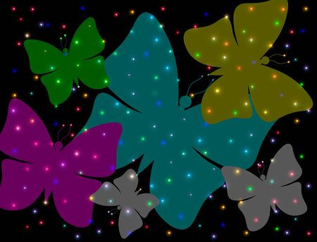 dreamlike: Abstract butterflies on a black background with colorful lights Stock Photo