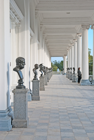 busts: TSARSKOYE SELO, SAINT-PETERSBURG, RUSSIA - SEPTEMBER 15, 2015: The Cameron Gallery. The bronze busts of the Antique deities, heroes and great names of history