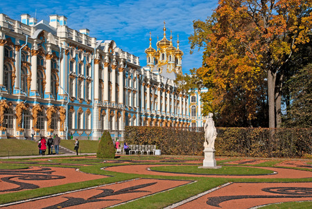 allegory: TSARSKOYE SELO, SAINT-PETERSBURG, RUSSIA - OCTOBER 11, 2015: Catherine Palace and Park with Allegory of Peace Statue. The Tsarskoye Selo is State Museum-Preserve. Located near Saint-Petersburg