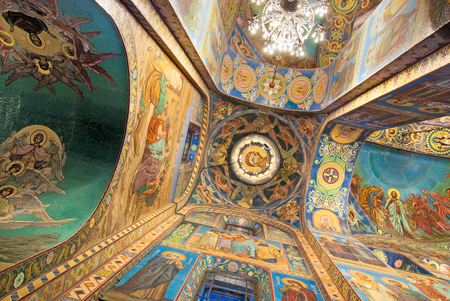 mary mother of jesus: SAINT-PETERSBURG, RUSSIA - NOVEMBER 13, 2015: Mother of God and Evangelic scenes in the mosaics at the Church of the Resurrection Savior on the Spilled Blood. Editorial