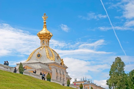 double headed eagle: PETERHOF, SAINT-PETERSBURG, RUSSIA - JUNE 25, 2014: The Armorial Pavilion of The Grand Palace of The State Museum Preserve Peterhof. In this pavilion there are Special Imperial Collections