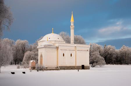 turkish bath: TSARSKOYE SELO, SAINT-PETERSBURG, RUSSIA - JANUARY 17, 2016: The Turkish Bath Pavilion on the bank of the Great Pond in the Catherine Park. The Tsarskoye Selo is State Museum-Preserve