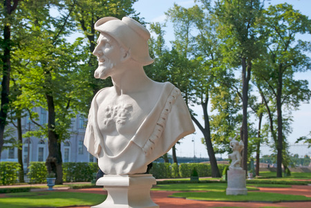 garden city: SAINT - PETERSBURG, RUSSIA - JULY 12, 2014: Bust of Democritus by Orazio Marinali in The Summer Garden. The Summer Garden - park ensemble, founded by Peter the Great. Democritus was greek philosopher