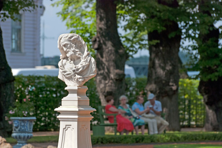 philosopher: SAINT - PETERSBURG, RUSSIA - JULY 19, 2014: Bust of Heraclitus in The Summer Garden. The Summer Garden - park ensemble, founded by Peter the Great. Heraclitus was greek philosopher Editorial