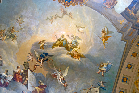 allegory painting: TSARSKOYE SELO, SAINT-PETERSBURG, RUSSIA - FEBRUARY 14, 2016: Allegory of Russia - fragment of the ceiling painting in The Great Hall Bright Gallery in The Catherine Palace.The Tsarskoye Selo is State Museum-Preserve. Editorial